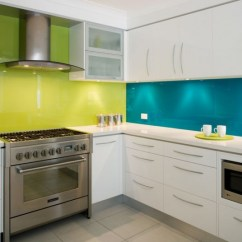 Glass Kitchen Backsplash Hot Water For Sink Yellow And Teal Back Painted Modern Paint The By Klamco Klam Construction