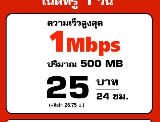 เน็ตทรู 25 บาท เน็ตเร็ว 1Mbps รายวัน