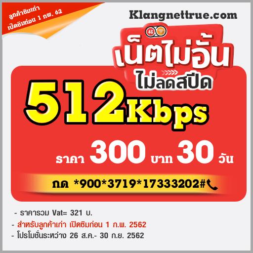 โปรเน็ตทรูไม่ลดสปีด 30 วัน 300 บาท ความเร็ว 512Kbps ตลอดการใช้งาน