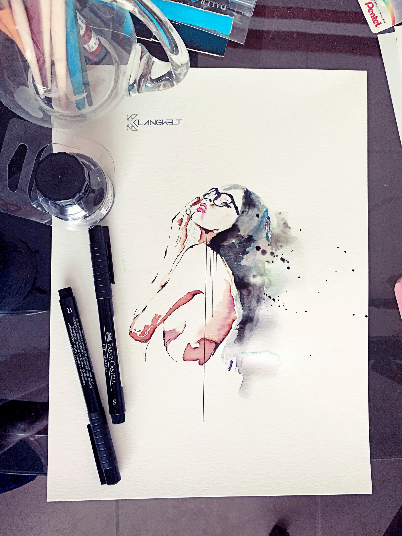 the Unknown Muse II watercolor and ink painting illustration