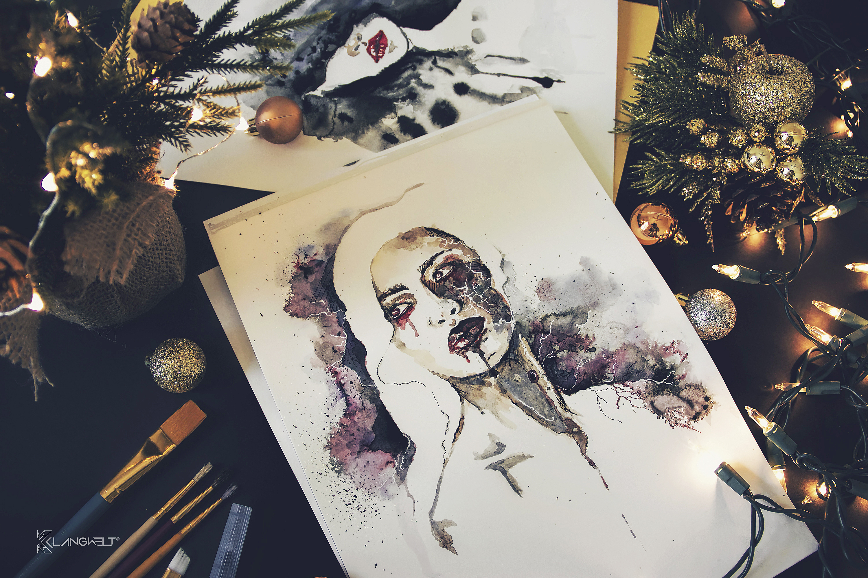 The Unknown Muse IV watercolor and ink artwork