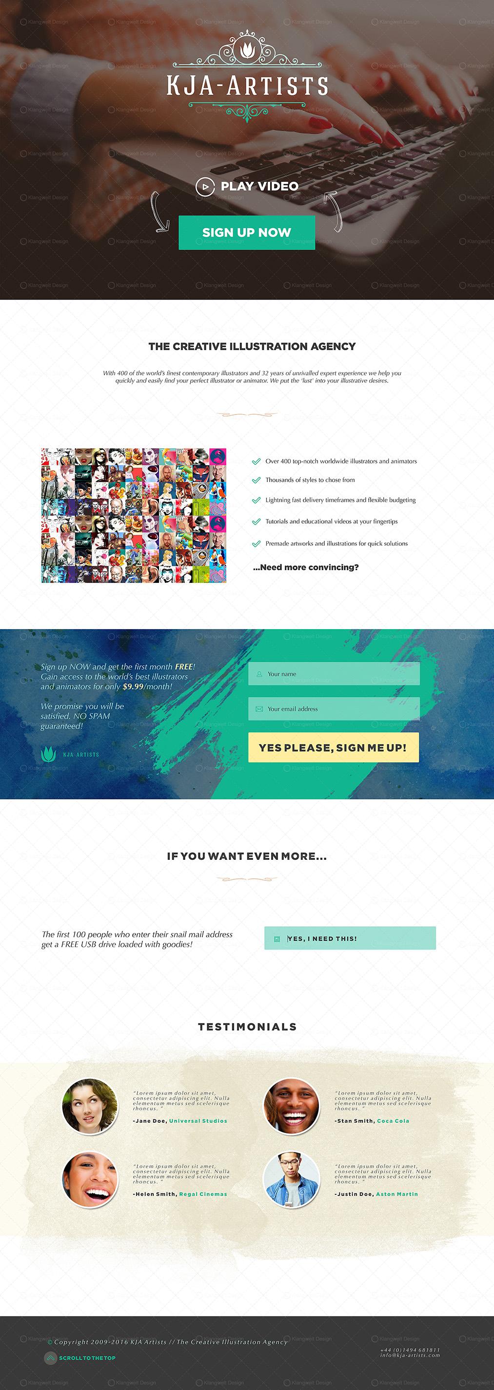 KJA Artists Illustration Agency Web & UX Redesign by Klangwelt