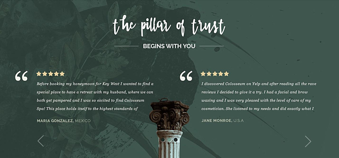 colosseum testimonials carousel design branding detail