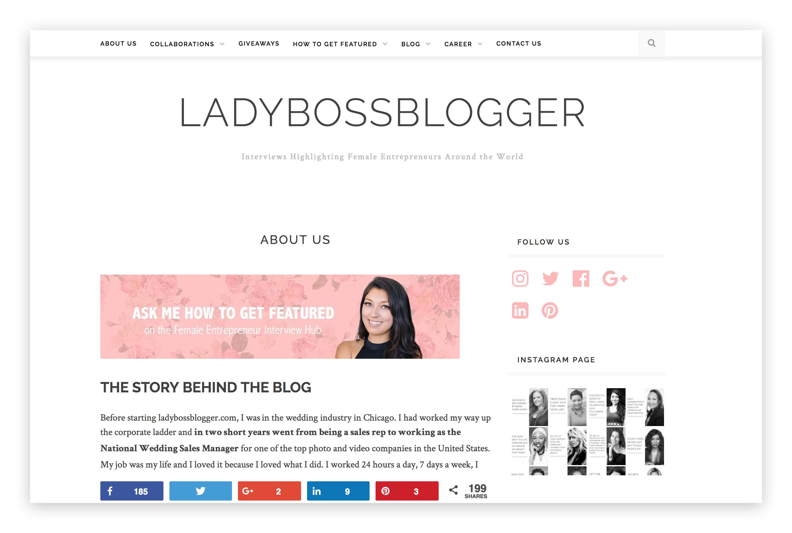 LadyBossBlogger branding design homepage
