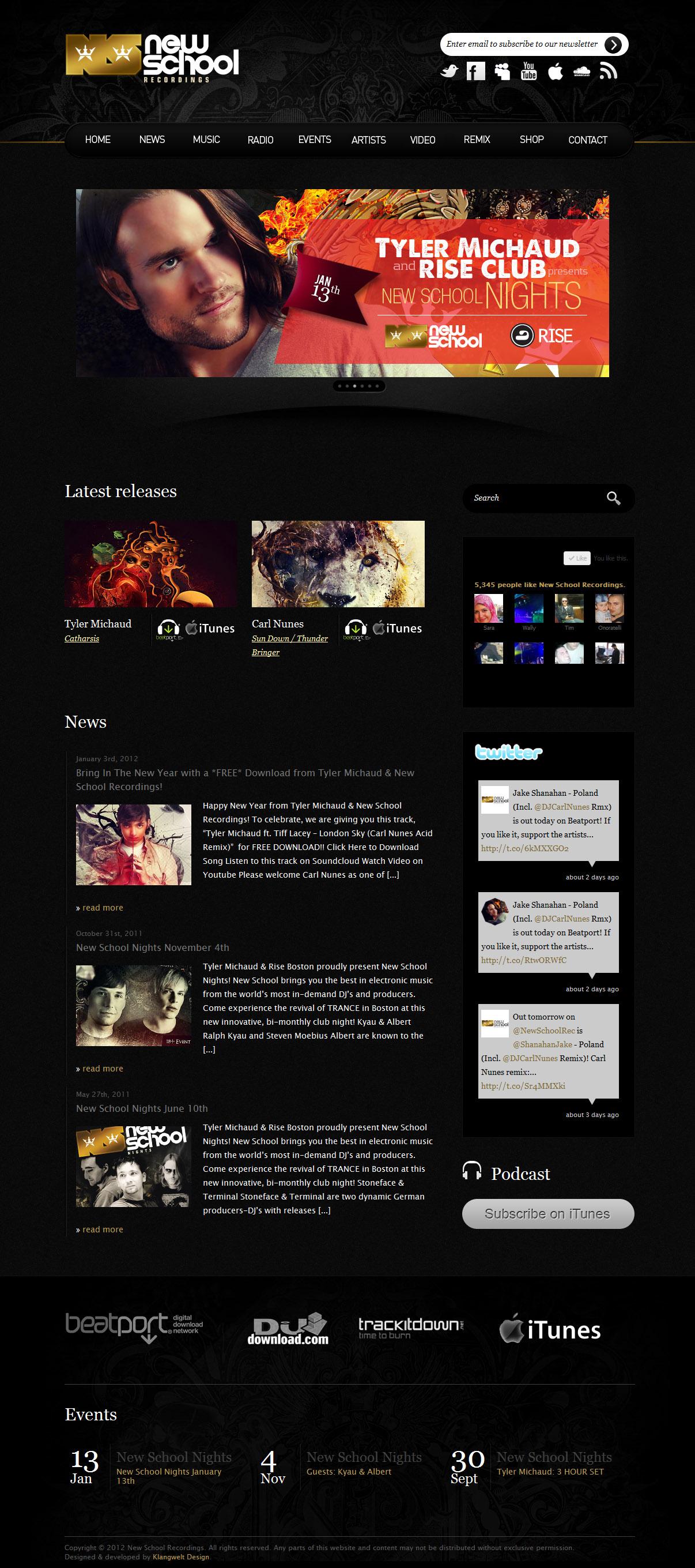 New School Recordings Wordpress Website 2011