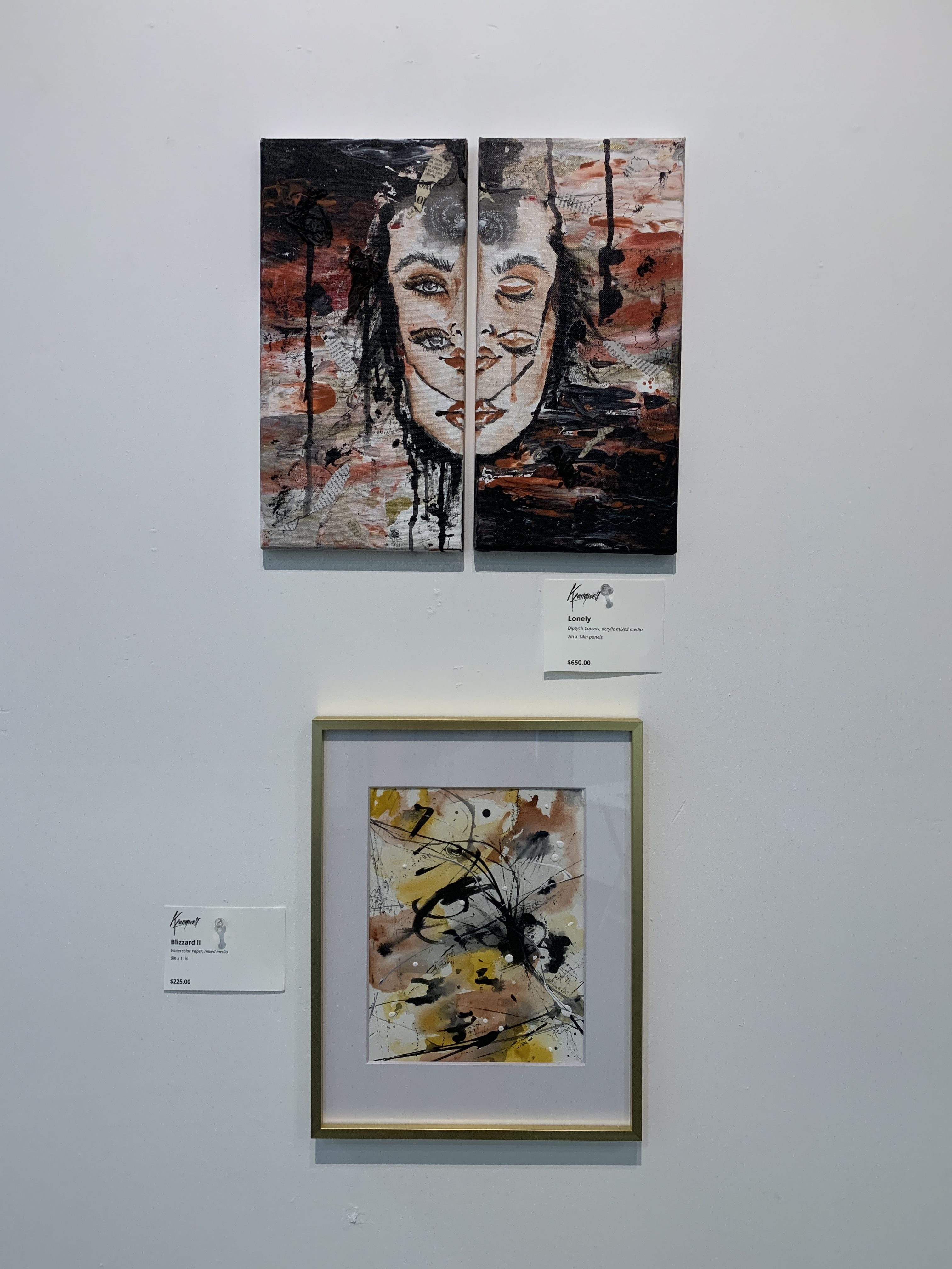 """""""Lonely"""" diptych Canvas Painting and """"Blizard II"""""""