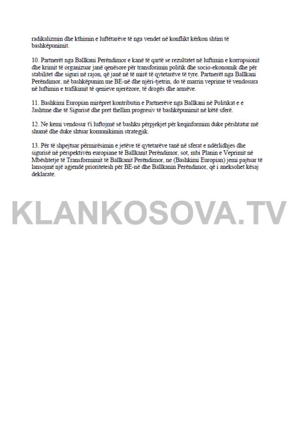dk1 Ekskluzive: Deklarata e Përbashkët nga Samiti i Sofjes