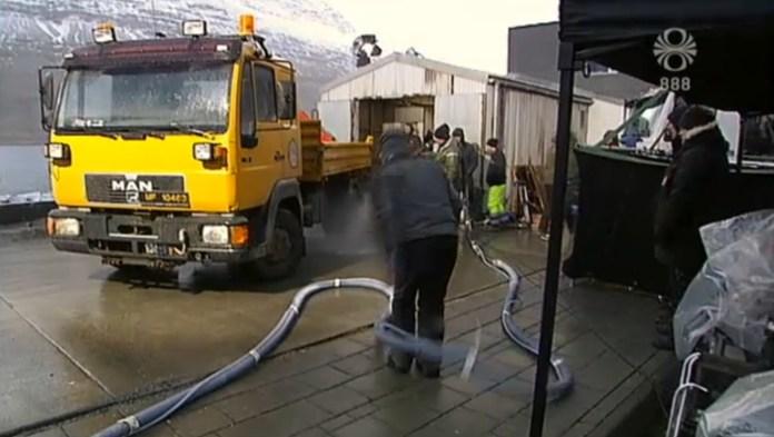Frá tökum á Fortitude á Reyðarfirði í febrúar 2014.