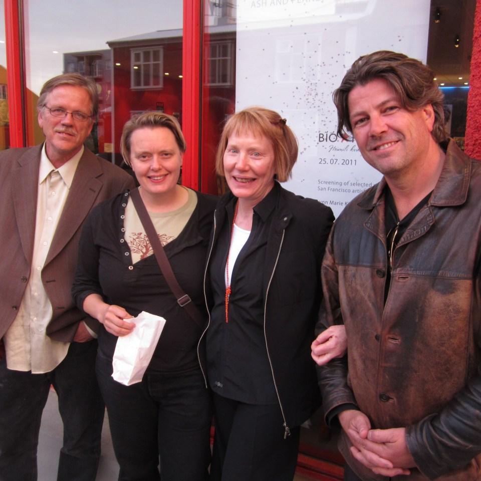 Þorfinnur Guðnason, Hrafnhildur Gunnarsdóttir, Lynn Kirby og ónefndur við Bíó Paradís sumarið 2011.