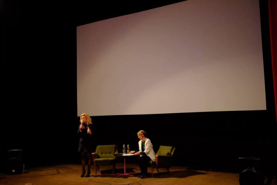 Heiðursgestirnir Eva Mulvad og Sigrid Dyekjær á Skjaldborg 2015.