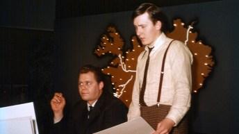 Magnús Bjarnfreðsson fréttamaður og Björn Björnsson leikmyndahönnuður - kosningar 1967.