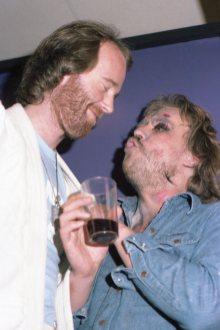 Egill Eðvarðsson upptökustjóri og Hrafn Gunnlaugsson leikstjóri. Silfurtunglið lokapartý. 1976.