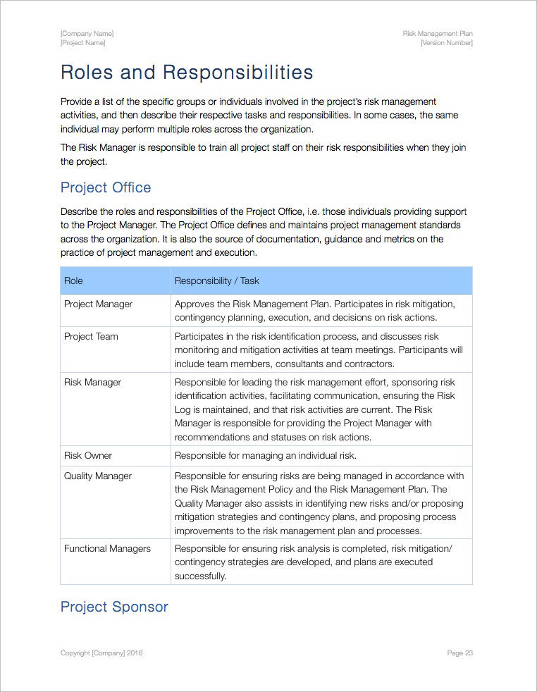 Risk Management Plan Template (Apple iWork Pages/Numbers ...