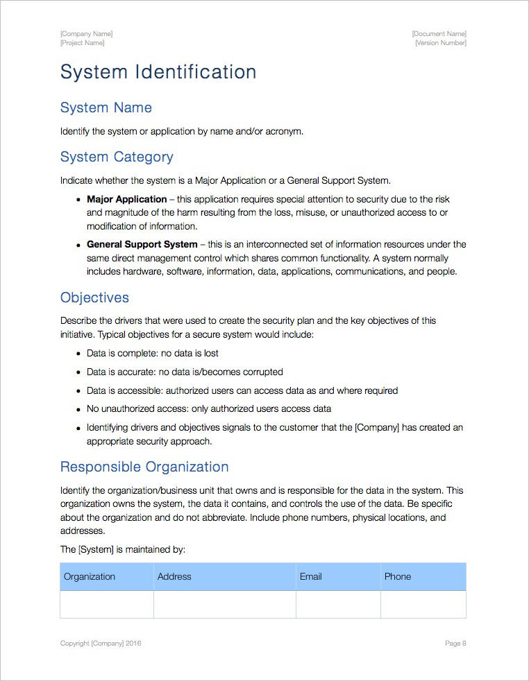 Computer systems are secure from such threats if … Security Plan Template Apple Iwork Pages Numbers Templates Forms Checklists For Ms Office And Apple Iwork