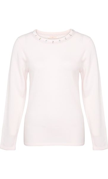 PALE PINK Anna Rose Jewelled Neck Knit Top