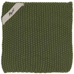 "Grydelap ""Mynte"" mørkegrøn strikket - Ib Laursen"