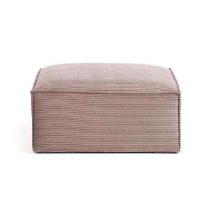 LAFORMA rektangulær Blok puf - lyserød fløjl (90x70)