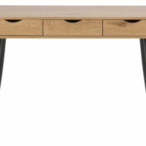 Neptun skrivebord i finer - natur papir vild eg/sort, m. 3 skuffer (110x50)