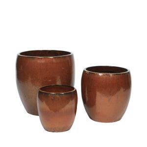 BROSTE COPENHAGEN Karmen krukke - brun ler (sæt af 3)