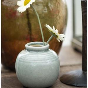 Vase mini m/ riller grøn krakeleret glasur - Ib Laursen
