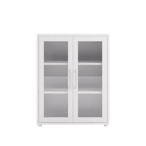 Prima kontorreol - hvid/klart glas, m. 2 låger
