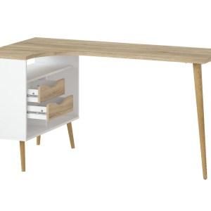 Delta skrivebord - egestruktur/hvid træ m. 2 skuffer