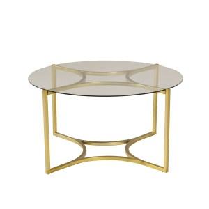 VENTURE DESIGN Kivik sofabord, rund - glas og messing metal (Ø86)