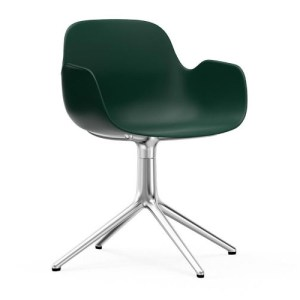 Normann Copenhagen Form drejestol med armlæn Green - Alu