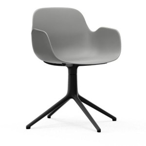 Normann Copenhagen Form drejestol med armlæn Grey - Alu Sort