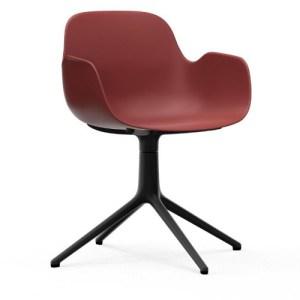 Normann Copenhagen Form drejestol med armlæn Red - Alu Sort