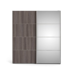 TVILUM Verona Skydedørsskab - hvid/antracitgrå eg/spejlglas , m. 2 skydedøre