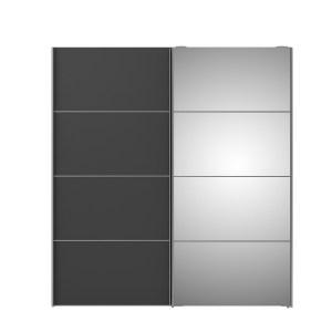 TVILUM Verona Skydedørsskab - hvid/grå/spejlglas, m. 2 skydedøre