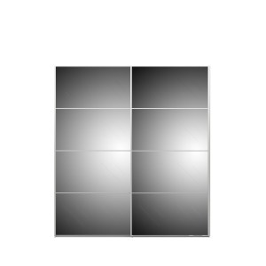TVILUM Verona Skydedørsskab - hvid/spejlglas, m. 2 skydedøre