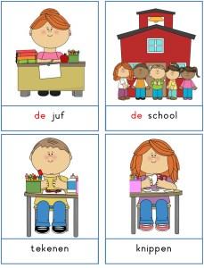 woordkaarten thema school