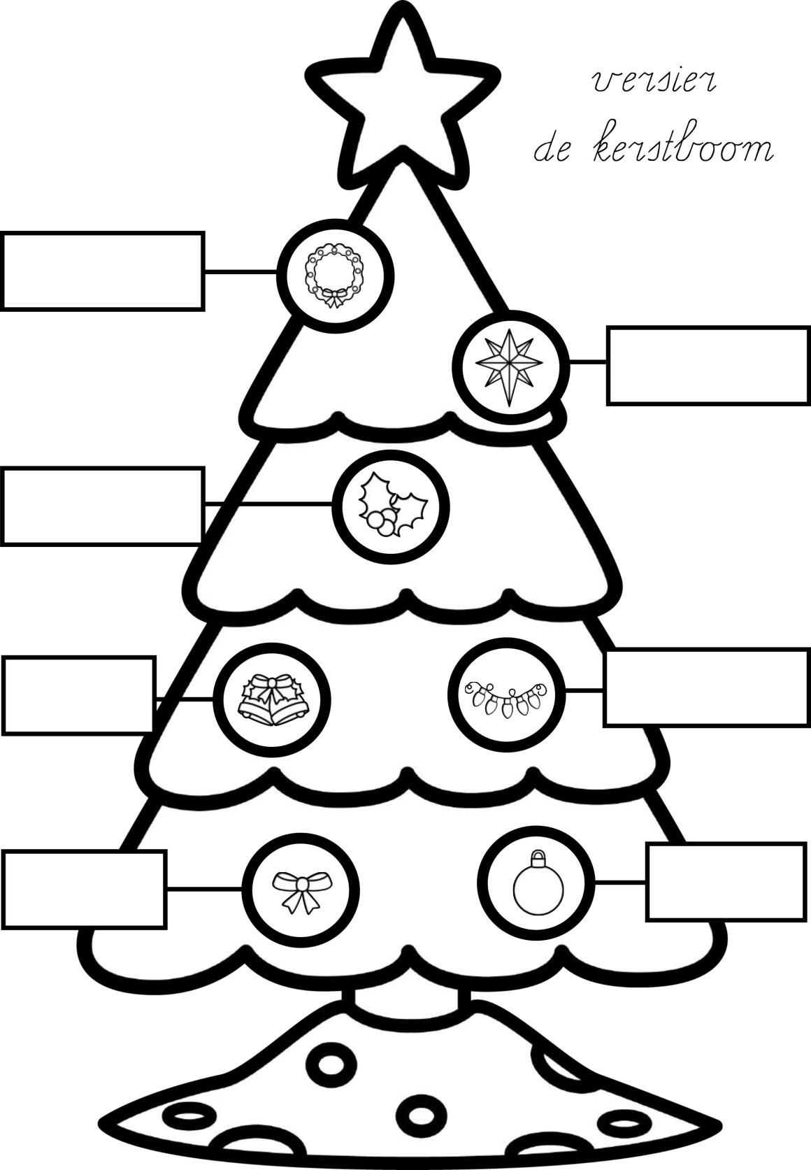 Labelen kerst boom groep 3 lezen