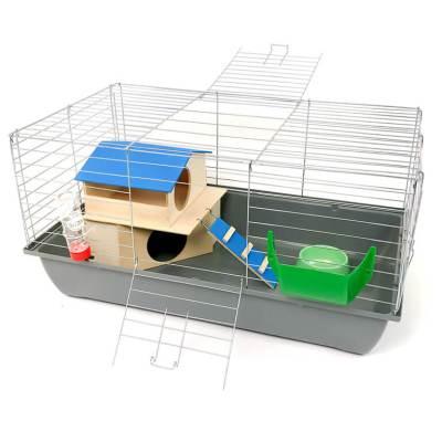 Klatka dla królika lub świnki morskiej 80cm z domkiem piętrowym