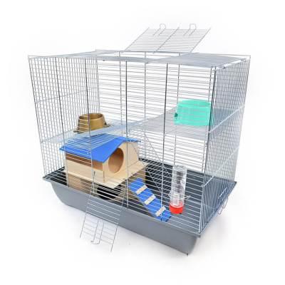 Klatka dla gryzonia Mega2 z domkiem piętrowym, metalowe wyposażenie, szara kuweta