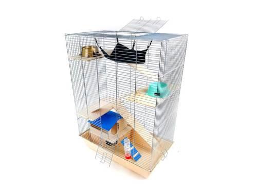 Klatka dla gryzonia Mega4 z domkiem piętrowym, drewniane wyposażenie, beżowa kuweta