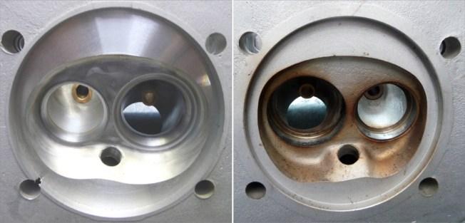 Brennräume vor (rechts im Bild) und nach Bearbeitung (links im Bild)