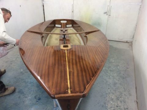 Solo dinghy varnished