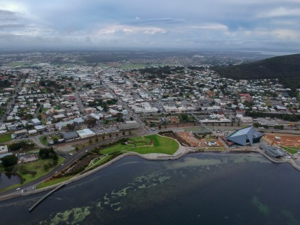 image of Albany from the air, the ocean visible in the foreground