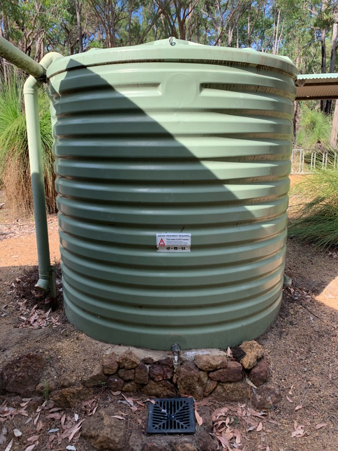 person high water tank at the trail huts