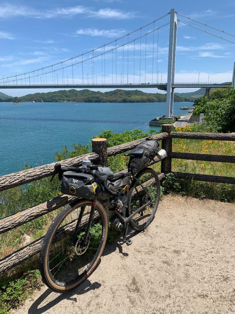 Along the 70km long Shimanami Kaido, connecting Shikoku back to the mainland via six islands.
