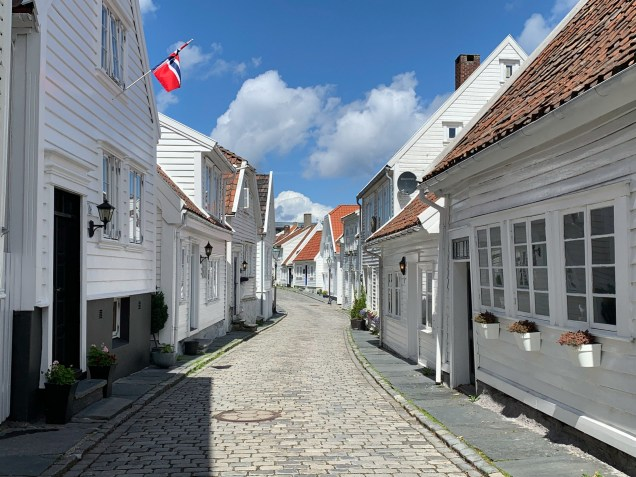 Preserved wooden houses in the old city center of Stavanger