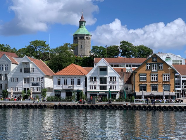 Preserved wooden business buildings at the harbor in Stavanger