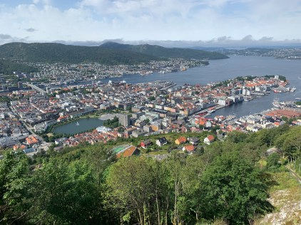"""View of downtown from Fløyen, one of the """"city mountains"""" surrounding Bergen"""
