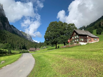 Alpine-style houses on the way up to Rossweidhöchi