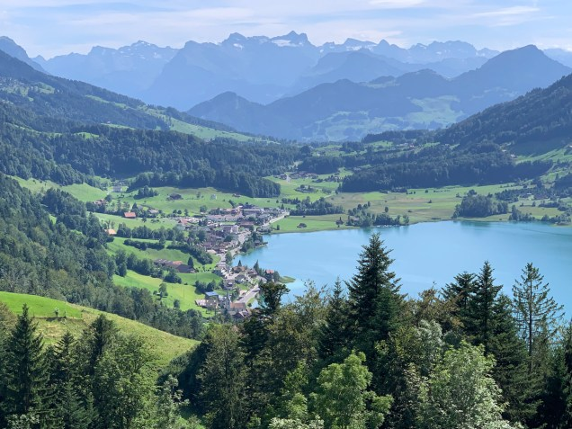 Descent towards Lake Aegeri, with views of the Rigi massif in the distance