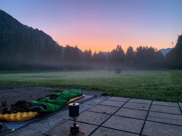 Dawn after a night spent in the driveway of a local soccer club