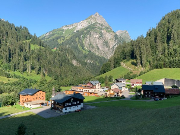 Climbing up towards Hochtann Mountain Pass and through small settlements